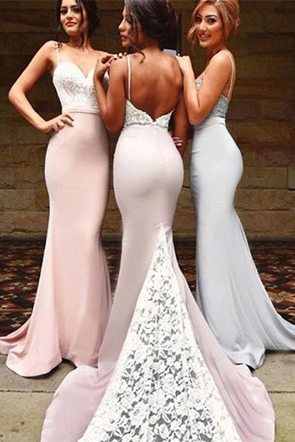 Gorgeous Mermaid Spaghetti Strap 2020 Bridesmaid Dress Lace On Sale th206