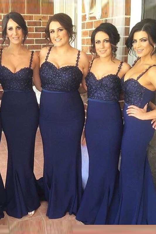 Gorgeous Navy Spaghetti Strap 2020 Bridesmaid Dress Lace Beadings Long Wedding Party Dress
