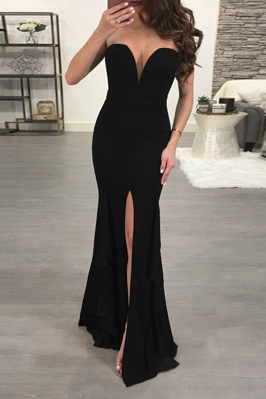 Sexy Black Sweetheart Evening Dress | 2020 Mermaid Prom Dress With Slit BC0507