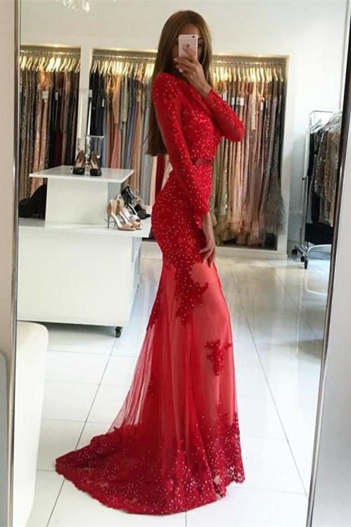 Sexy Red Long Sleeve Evening Dress | 2020 Appliques Long Prom Dress