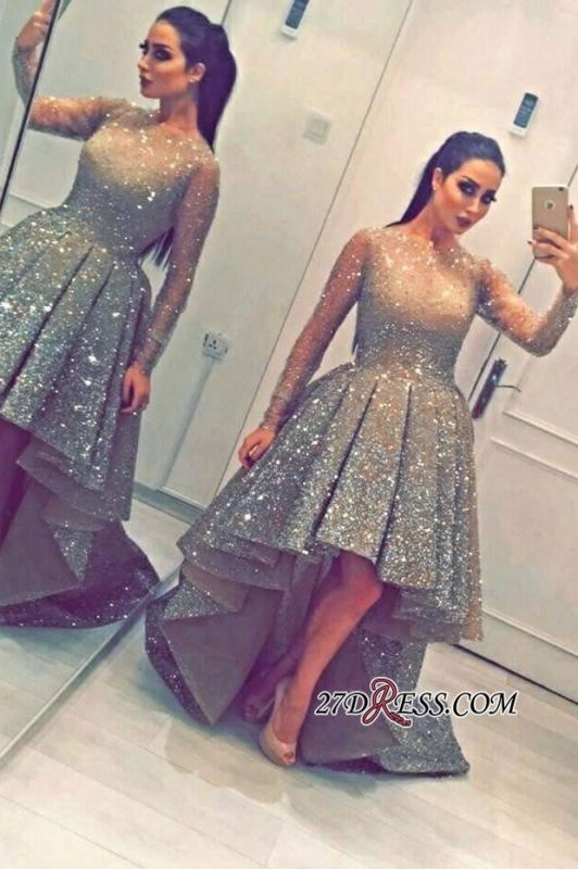Luxurious Sequins Party Long-Sleeves Beadings Hi-Lo Homecoming Prom Dress BA3735