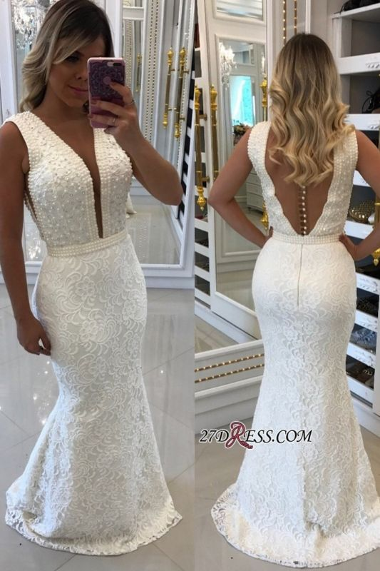 White pearls evening dress, 2020 mermaid prom dresses