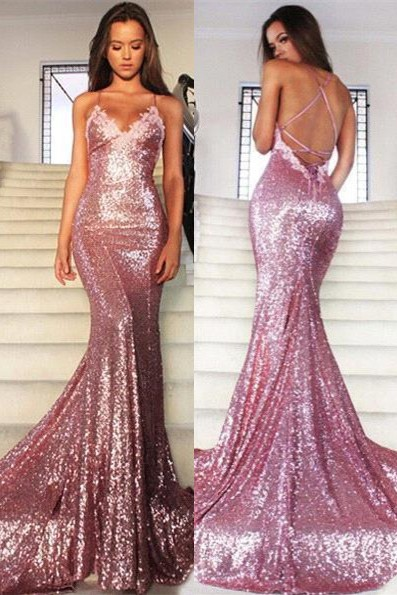 Glamorous Sequins V-Neck Prom Dresses 2020 Mermaid Spaghetti Straps Party Gowns