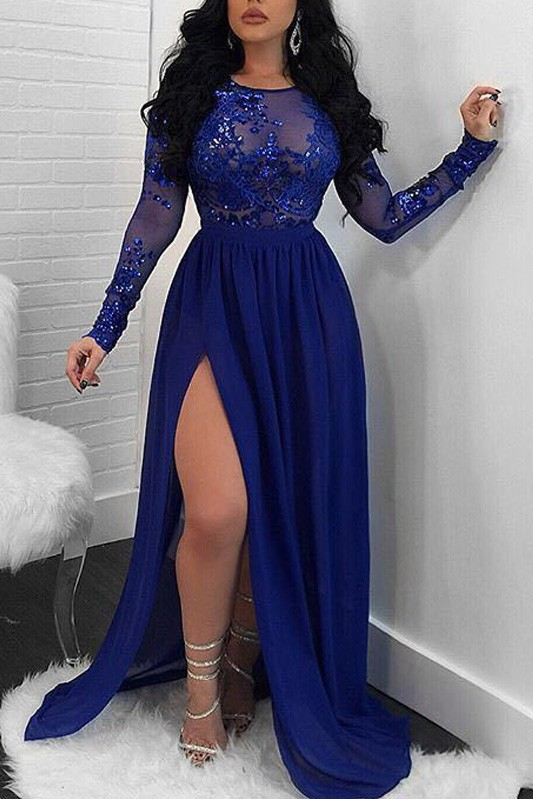 Modern Long Sleeve Lace Front Split Prom Dress | Royal Blue Prom Dress BA9080