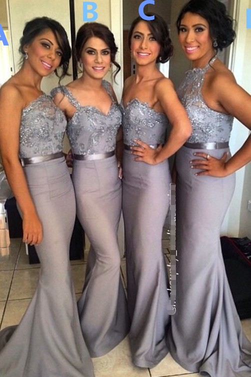Different Styles Lace Appliques Mermaid Bridesmaid Dress 2020