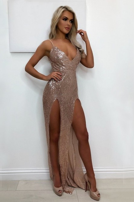 Sexy V-Neck 2020 Sequins Prom Dress   Long Evening Party Gowns With Split BA9873