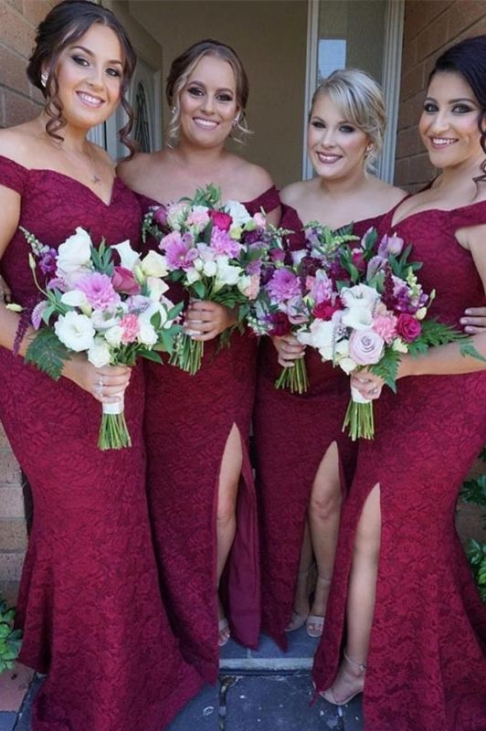 Gorgeous Off-the-Shoulder Bridesmaid Dress   2020 Mermaid Lace Maid of Honor Dress
