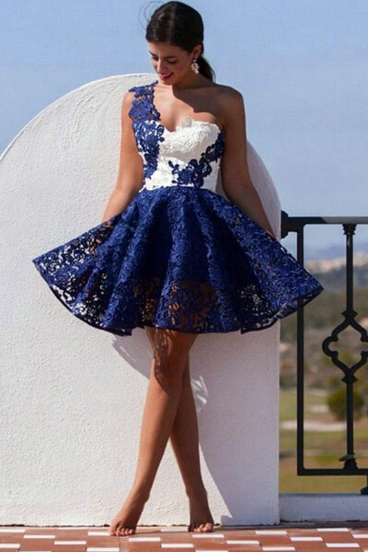Cute One Shoulder Lace Homecoming Dress 2020 Short Prom Dress