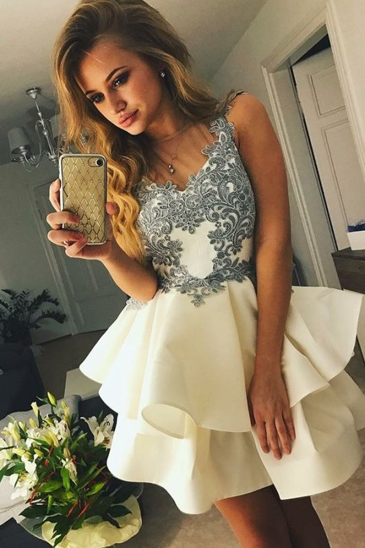 Lovely Sleeveless Short Prom Dress | 2020 Homecoming Dress With Appliques BC1637