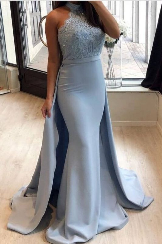 Lace 2020 Prom Dress With Ruffles | Mermaid Halter Long Evening Gowns