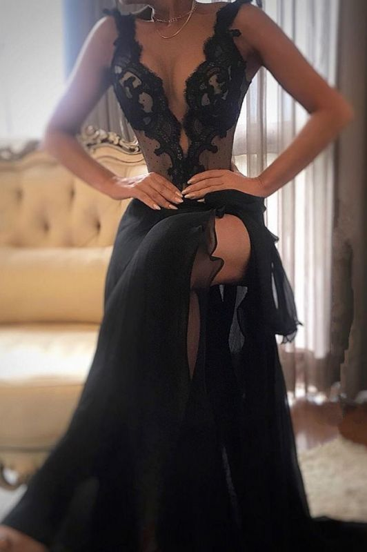 Sexy Black Prom Dress | 2020 Lace Evening Gowns With Slit