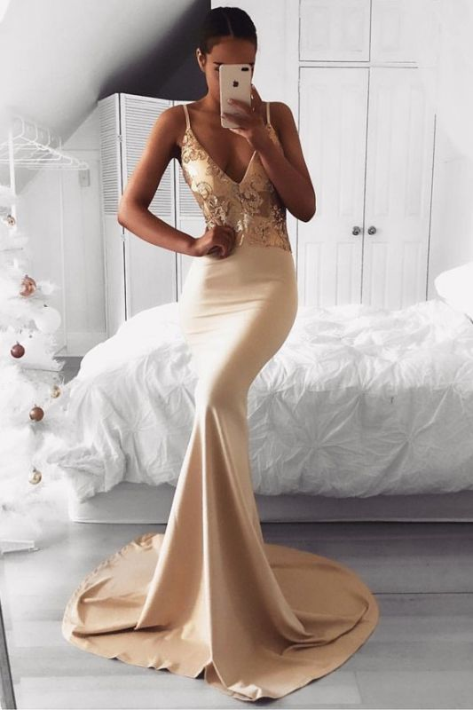 Sexy Spaghetti Strap Gold Sequined Prom Dress | Mermaid Prom Dress BA9015