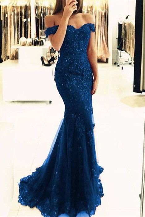 Off-the-Shoulder Prom Dress | 2020 Lace Appliques Evening Gowns