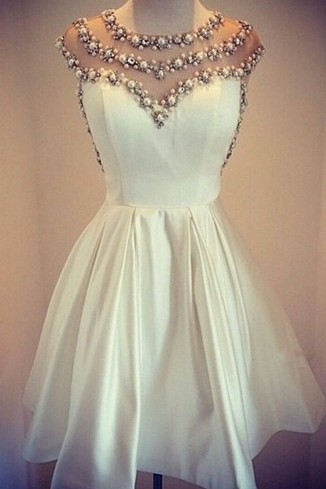 Lovely White Pearls 2020 Short Prom Dress Cap Sleeve Vintage Homecoming Dress