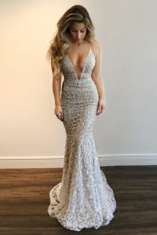 Gorgeous V-Neck Prom Dress | 2020 Lace Mermaid Evening Gowns BA9393 BA7977