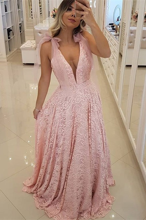 Gorgeous Pink V-Neck 2020 Prom Dress | Lace Evening Dress Long