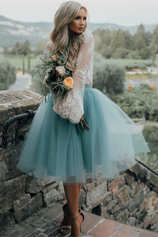 Long Sleeve Lace 2020 Short Prom Dress Tulle Party Gowns