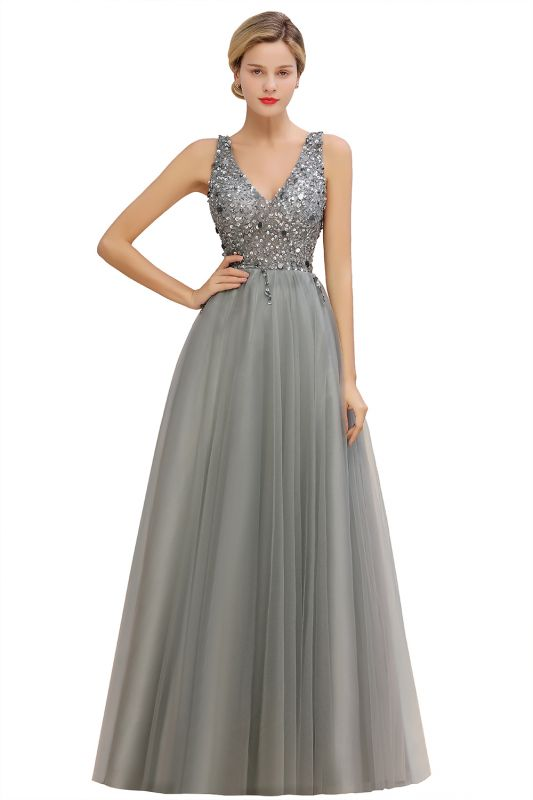 Spark Beading Sequins Bodice Evening Maxi Dress Tulle  Gown