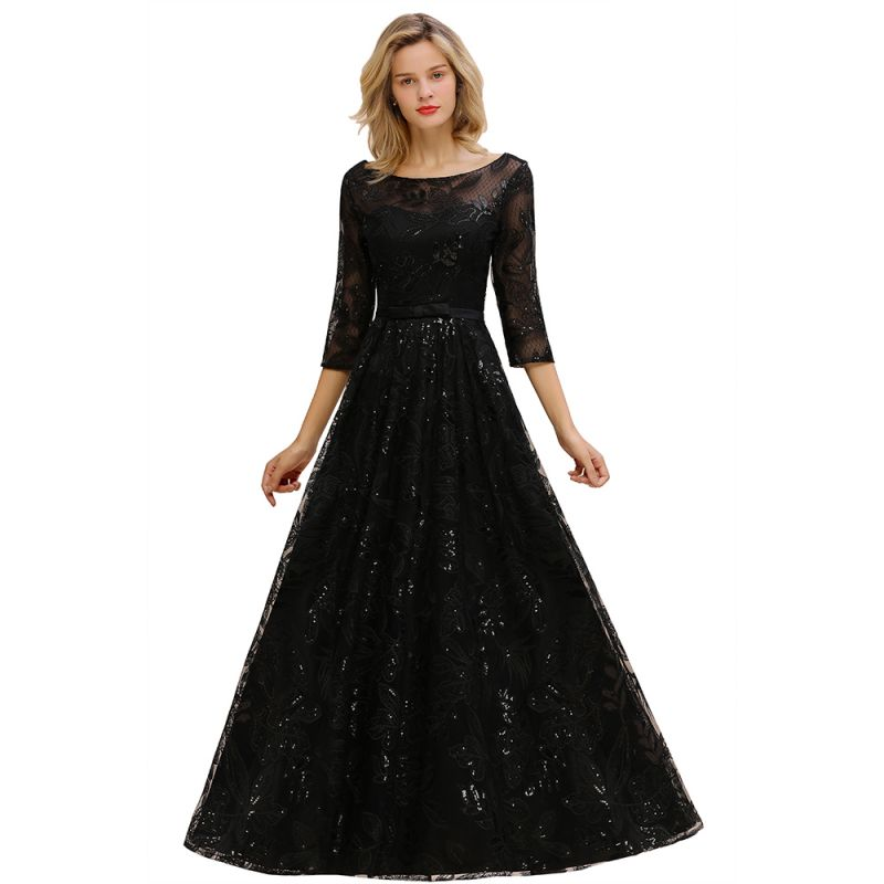Women's Floral Lace Tulle Mesh Illusion Crewneck Evening Formal Prom Gown for Wedding Party