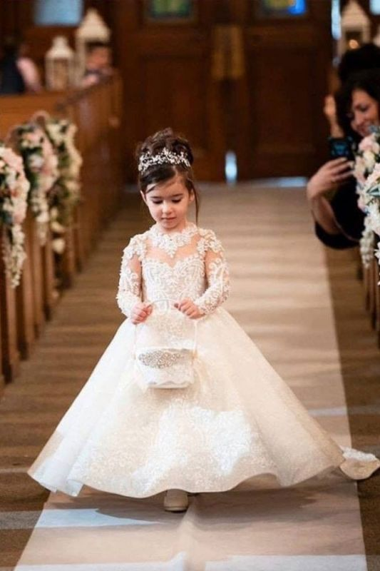 Princess Long Sleeve Flower Girl Dresses White/Ivory A-line Lace Girls Dress for Wedding