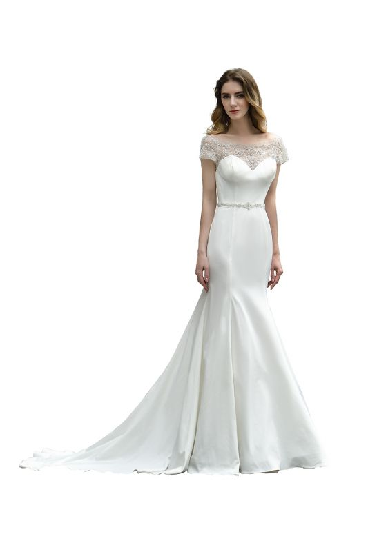 Floral Beaded Cap Sleeve Mermaid Lace Ivory Wedding Dress with Chapel Train