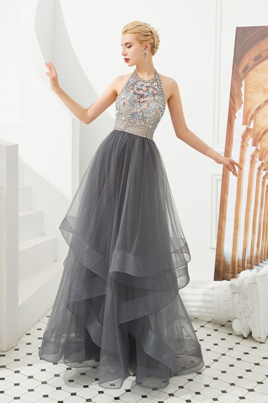Halter Floral Evening Dress Sparkly Beads Tulle Prom Dress Mother of bride dress