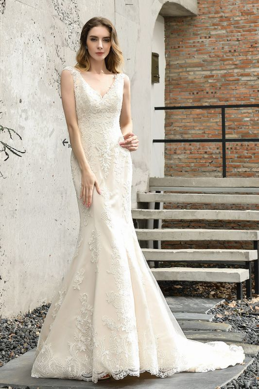 Stylish Mermaid Wedding Dress Slim Lace Appliques Sleeveless Party Dress for wedding
