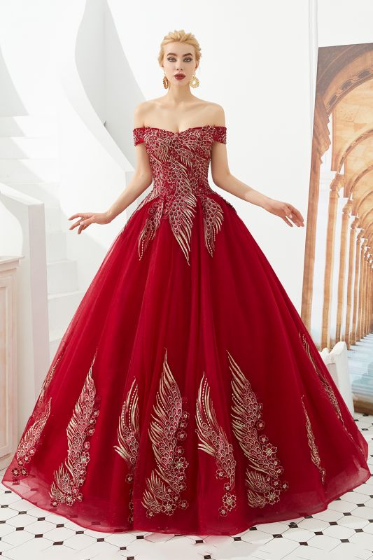 Elegant Off Shoulder Gold Appliques Evening Gown Tulle Gowns for wedding party