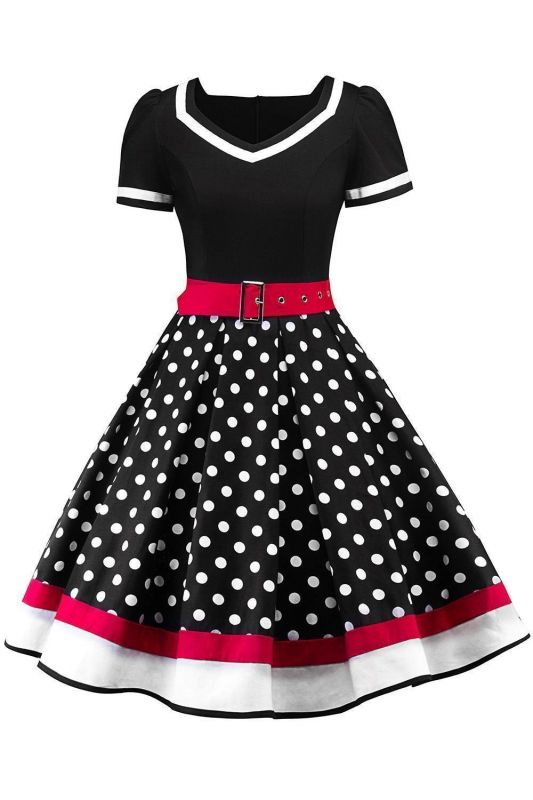 Women's Vintage Crew Polka Dot Wedding Party Cocktail Dress