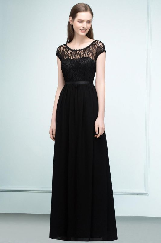 Short Floor-length Lace Dresses Sleeves A-line Bridesmaid with Sash