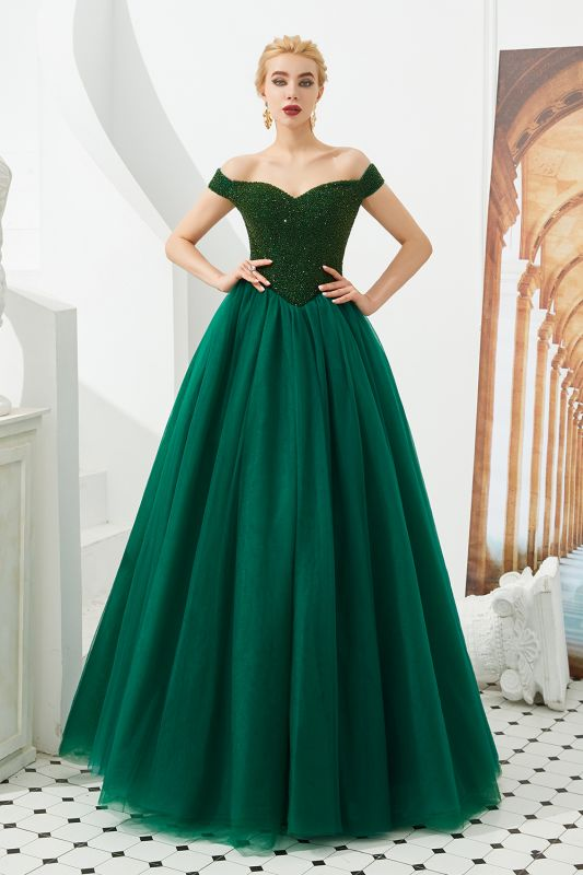 Sparkly Off Shoulder Beading Princess Prom Gowns for Wedding Party