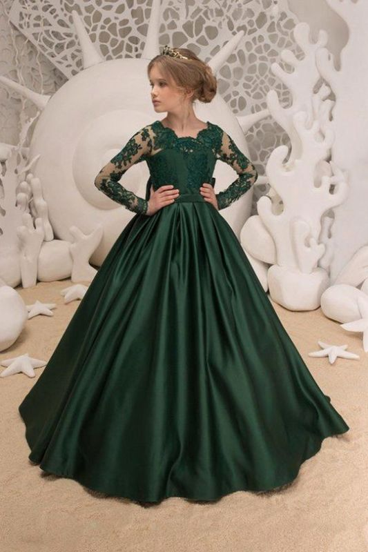 Satin Dark Green Jewel Lace Backless Flower Girl Dresses With Bow| Long Sleeves Floor Length Girl Party Dresses