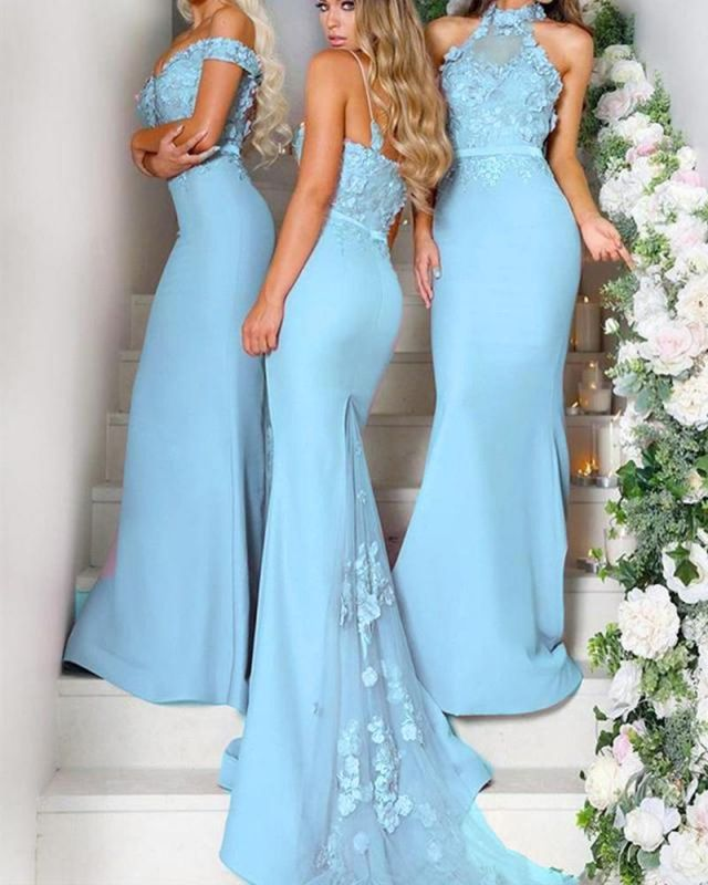 Multy-style Mermaid Lace Floor Length Bridesmaid Dresses With Waistband Maid Of honor Gowns