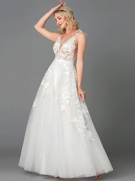 Elegant Tulle  Appliques Simple Wedding Dress V-Neck Sleeveless A-line Lace Dress