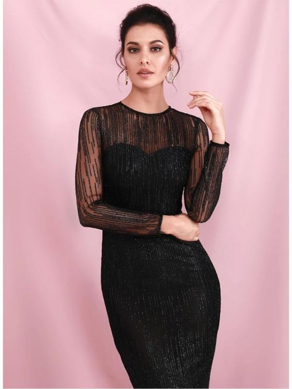 Charming Black Sequins Slim Evening Maxi Dress Long Sleeve Glitter Party Dress