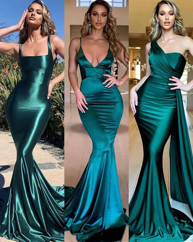 Sexy Mermaid Sleeveless Evening Maxi Gowns Strech Satin Prom Dress V-Neck/One Shoulder