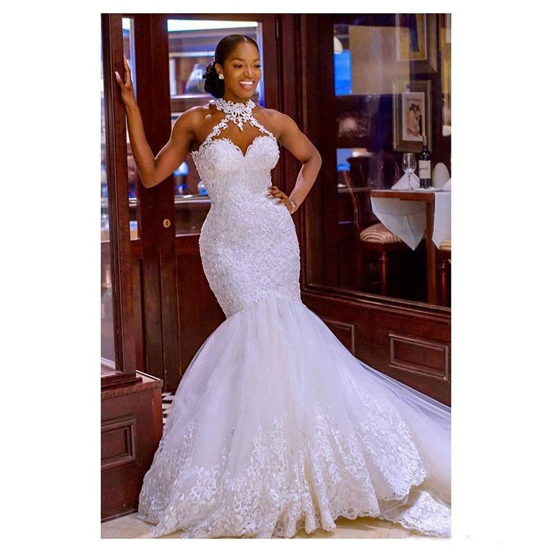 Gorgeous Halter Beading Mermaid Ball Gown Bridal Dress for Women Lace Appliques