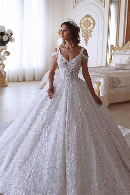 Off the Shoulder White Bridal Gown Elegant Sleeveless Aline Ball Gown