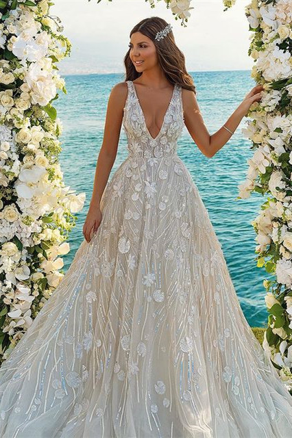Chic 3D-Floral Print Wedding Dress A-line V-Neck Beach Wedding