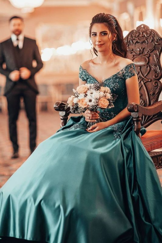 Jade Off Shoulder A-line Beading Evening Gowns Sleeveless Ball Gown