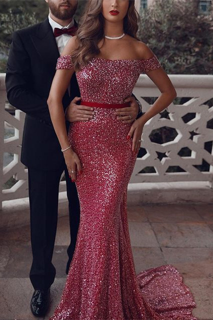 Sparkly Off Shoulder Prom Dress Sequins Mermaid Evening Gowns