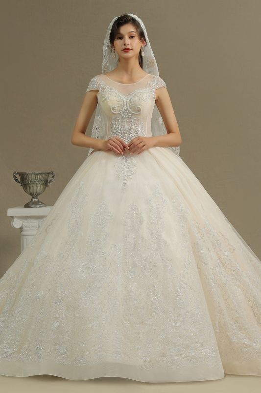 Gorgeous Cap Sleeves Aline Tulle Lace Ball Gown Floor-Length Garden Bridal Gown