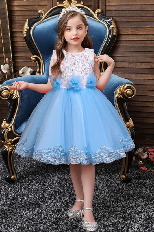 Beautiful Sky Blue and Pink Bridal Flower Girl Dresses