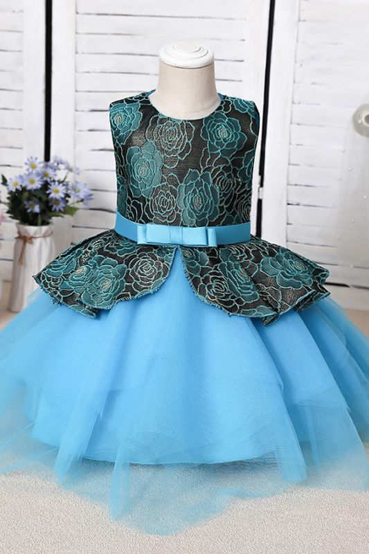Sleeveless Sky Blue Little Flower Girl Dress for Wedding with Straps