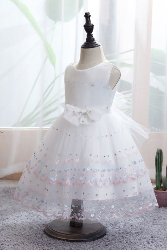 White Sleeveless bridal flower girl dresses