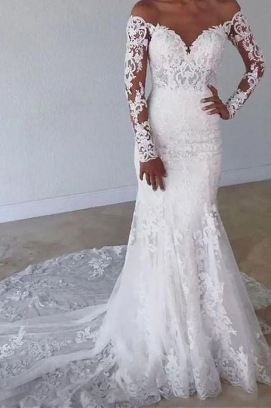 Elegant Off Shoulder White Lace Mermaid Bridal Gown with Long Sleeves Tulle Wedding Dress