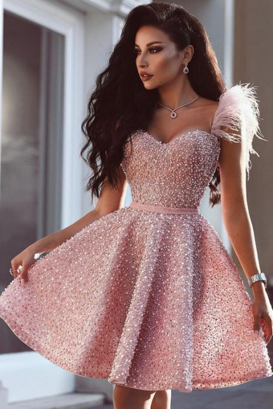 Chic Sweetheart Sparkly Sequins Pearls Short Party Dress with Feather Straps