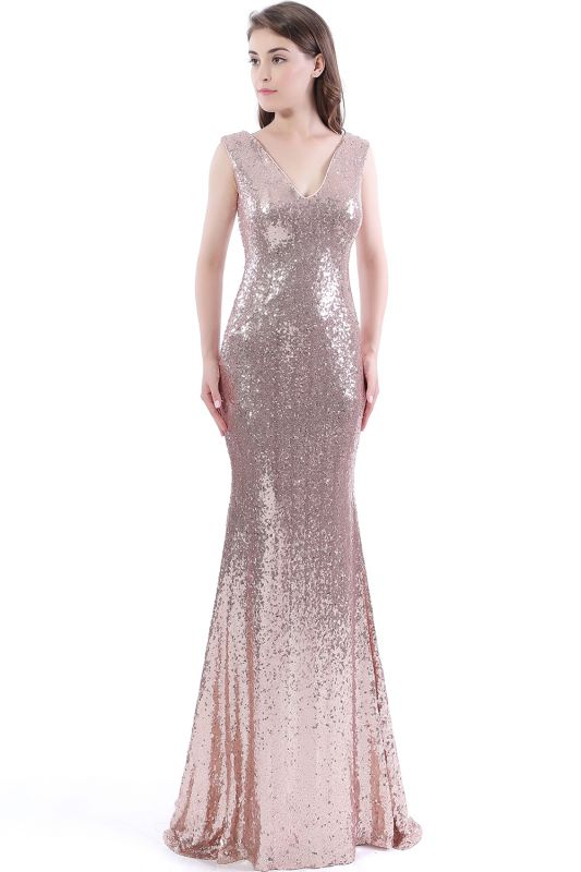 2020 Mermaid V-Neck Simple Sequins Long Evening Dresses