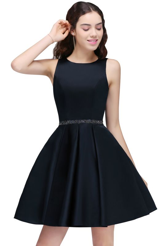 A-Line Beadings Sleeveless Sequare Black Short Homecoming Dresses