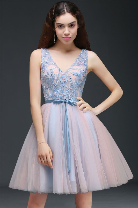 Fairy Sky-Blue V-Neck Puffy Flowers-Beaded Homecoming Dresses